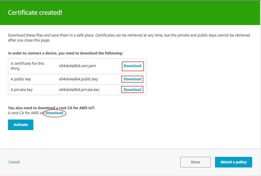 Download IoT certificate